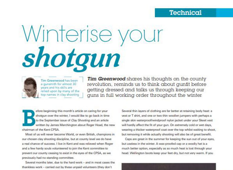 Clay Shooting Magazine Nov 2011 Winterise Your Shotgun