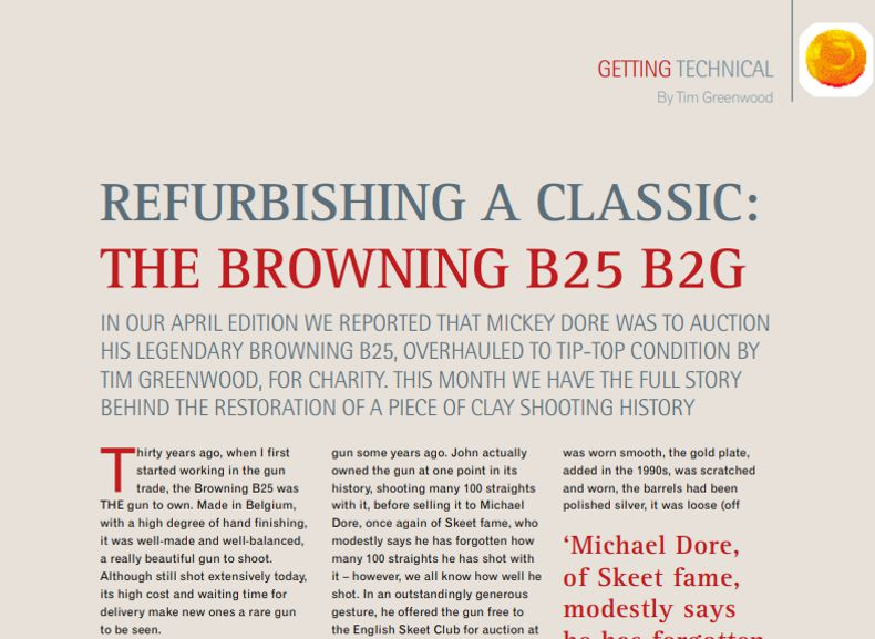 Clay Shooting Magazine July 2010 Refurbishing a classic the Browning B25 B2G