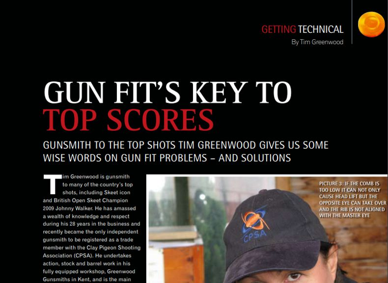 Clay Shooting Magazine March 2010 Gun fit's key to top scores
