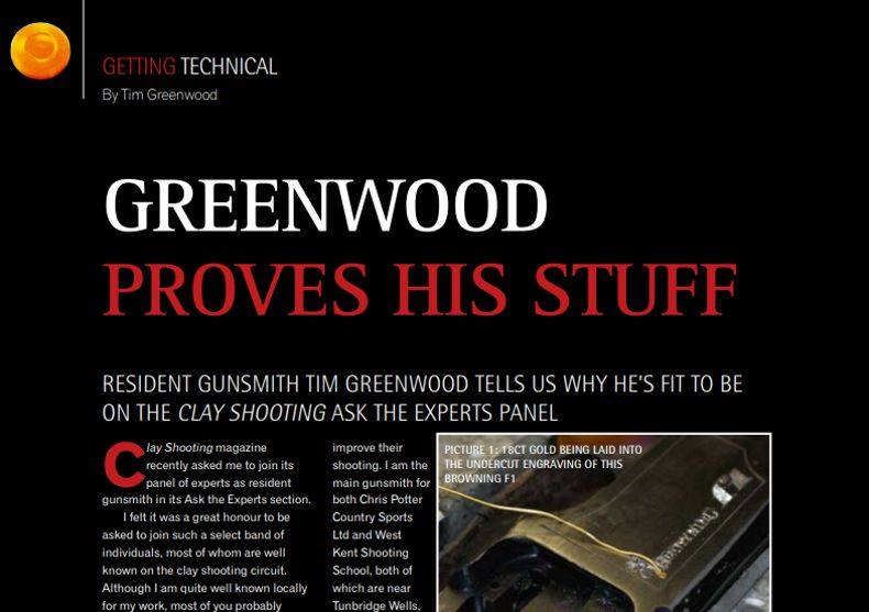 Clay Shooting Magazine October 2010 Greenwood proves his stuff